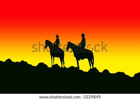 Silhouette of the two cowboys on the horses