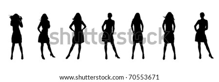 Silhouette of the woman. Various poses. Uncurl hair. It is isolated on a white background