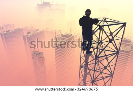 Silhouette of the worker on the rig.