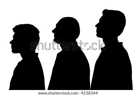 Silhouette of three people standing in line over white background