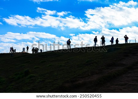 silhouette of tourists on mountain valley sunrise landscape , Pu Chi Fa - Chiangrai Thailand