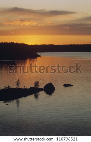 Silhouette of trees by lake at dusk