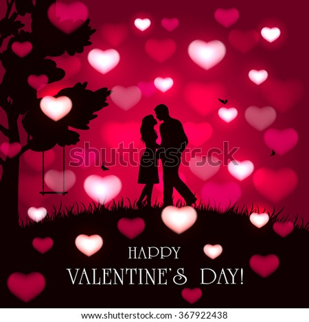 Silhouette of two enamored on red Valentines background with blurry hearts, butterflies and tree, illustration. #367922438