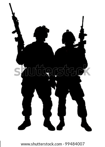 Silhouette of two US marines with rifles