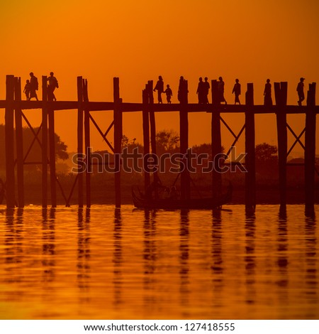 Silhouette of U bein bridge at sunset Amarapura ,Mandalay, Myanmar.