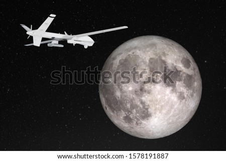 Silhouette of unmanned aerial vehicle (UAV) flying against background of huge full moon in dark starry space. Elements of this image furnished by NASA