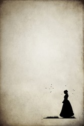 Silhouette of victorian woman