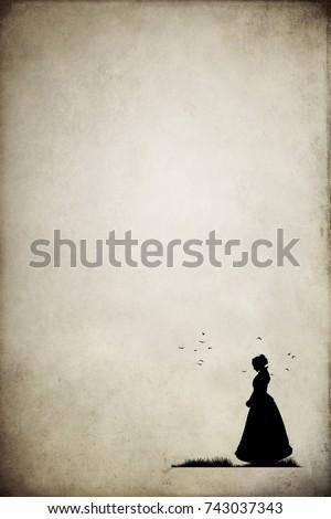 Silhouette of victorian woman - Shutterstock ID 743037343