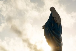 Silhouette of virgin Mary statue