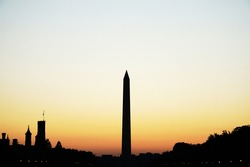 Silhouette of Washington Monument after sunset