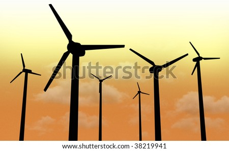 Silhouette of wind power plant farm in the night