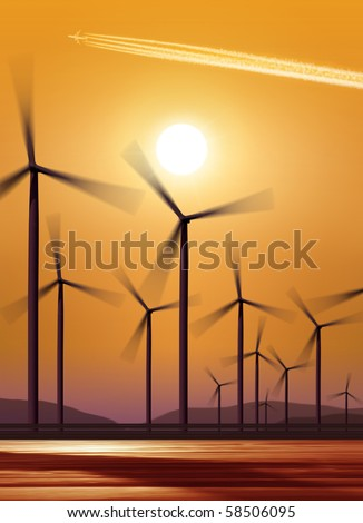 silhouette of wind turbines generating electricity on sunset background