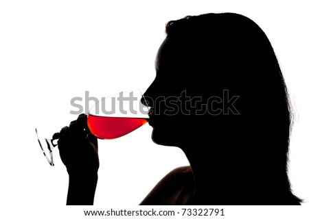 Silhouette of woman degusting wine. Isolated on white