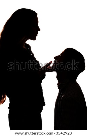 silhouette of woman who hold man head in hand