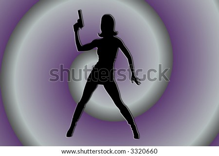 Silhouette Of Woman With A Gun On Purple Swirl Background