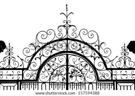 Silhouette of wrought iron gateway