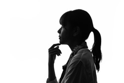 Silhouette of young asian woman.