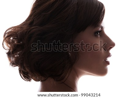silhouette of young model. isolated on white