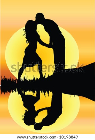 couple kissing silhouette image. romantic couple kissing by