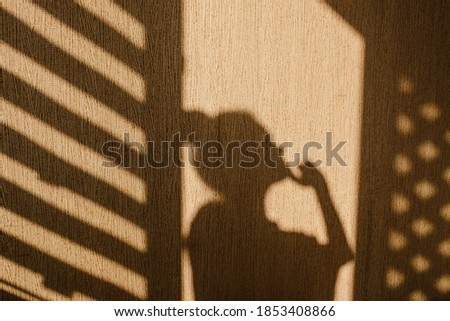 Silhouette of young woman thinking with her hand touching her chin in the morning at home. Contrast window shadows on the wall. Aesthetic shade portrait. Lights and shades. Shade silhouette.