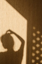 Silhouette of young woman with her hand touching her head chin in the morning at home. Contrast window shadows on the wall. Aesthetic shade portrait. Lights and shades. Shade silhouette.