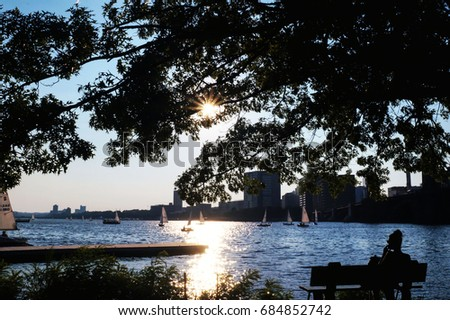 Silhouette of your thoughts at the Charles River  #684852742
