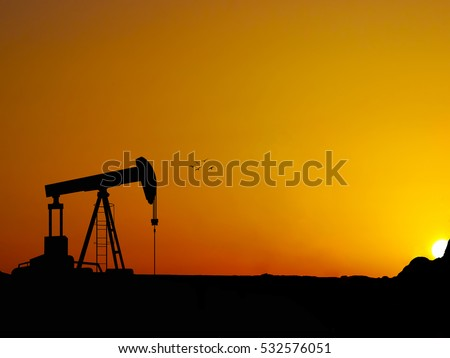 Silhouette oil well beam pump with nice sunset Stockfoto ©