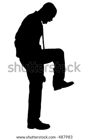 Silhouette over white with clipping path. Angry Man Stomping. - stock photo