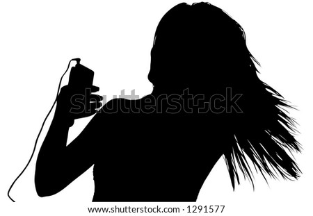 Silhouette over white with clipping path woman with digital music