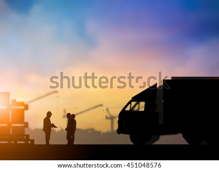 Silhouette People supervisors meeting, planning of Transportation Send to People over blurred pastel background sunset industry and shipping. Heavy industry and Transportation and People concept.