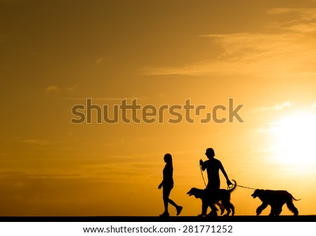 Silhouette people with the dog walking at sunset