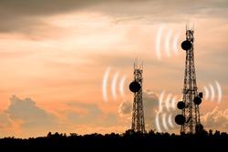 Silhouette phone antenna.silhouette satellite dish telecom network at sunset communication technology network