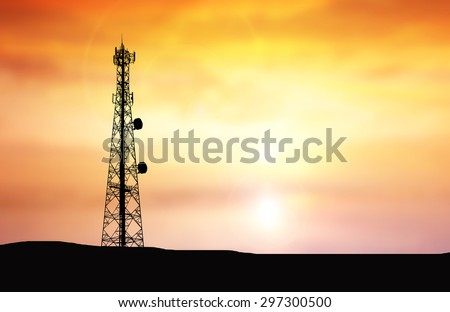 Silhouette phone antenna.Sunset background