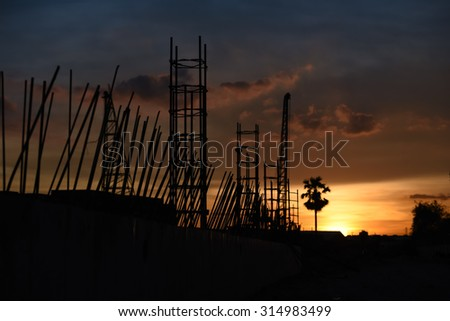 Silhouette photo of concrete structure after work