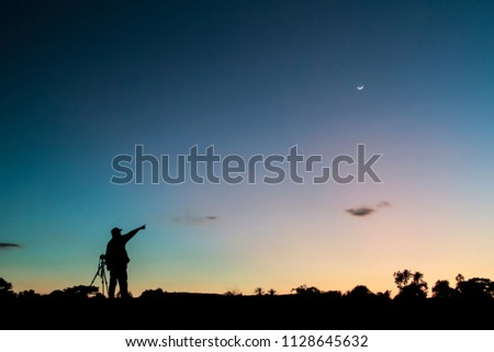 Silhouette photography are shooting after the sunset of the adventurous tourists.