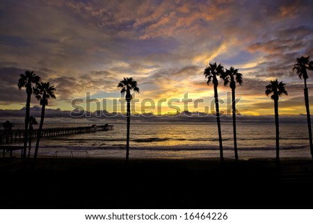 silhouette Pier with Beautiful Sunset Sky in San Clemente