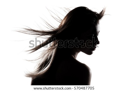 silhouette portrait of a beautiful caucasian girl  #570487705