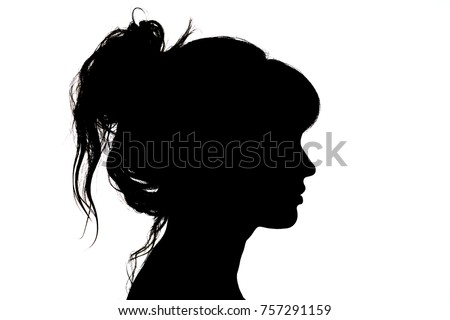 silhouette portrait of beautiful profile of woman face with hairstyle on white isolated background with wavy gathered hair, concept beauty and fashion