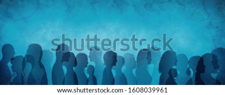 Silhouette profile of multicultural and multiethnic people thinking. Mind strategy concept. Confusion - questions - answers - caution - idea. Mindfulness. Human thoughts