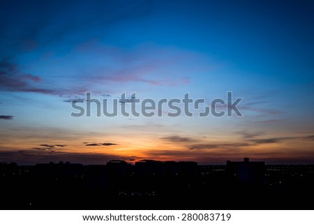 Silhouette rural town and sky in sunrise #280083719