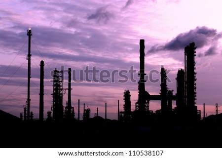 Silhouette scenic of petrochemical oil refinery plant