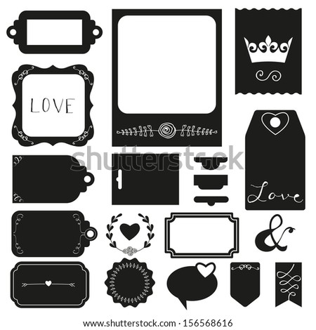 Silhouette scrapbook elements: photo frame, ribbon and tag collection for you design or scrapbook. Raster Illustration.