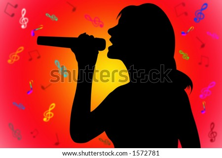 silhouette singer over the red-yellow with notes background