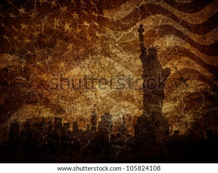 silhouette statue of liberty on ...