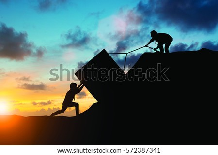 Silhouette team business helps to systematically patience hard work and the pressure to reach the finish line over blurred natural. Motivate employee growth concept.