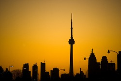 silhouette toronto tower cn urban landscape
