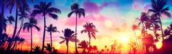 Silhouette Tropical Palm Trees At Sunset - Summer Vacation With Vintage Tone And Bokeh Lights
