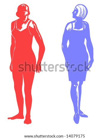 silhouette two girls on white background