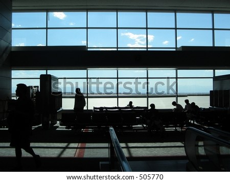 silhouette view of Denver International airport