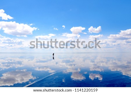 Silhouette walking on the calm water of the lake Elton, the biggest salt lake in Europe, with amazing mirror reflections of sky and clouds, Russia, Volgograd oblast #1141220159